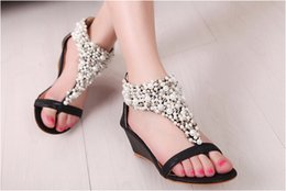 Wholesale HOT Brand new fashion Rome Women Bright Crystal Sandal Wedge Heel Sandals womens Shoes high heels slippers casual shoes AAA
