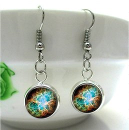 Wholesale HE29 Nebula Charm Nebula jewelry Crab Nebula Earring glass dome art cameo Glass