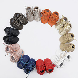 2016 Baby double tassel leather moccs infant girl boy fringe shoes with lace genuine leather prewalker booties toddlers cool shoes 10pairs