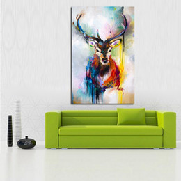 Wholesale Canvas Decors - Handpainted Animal Wall Pictures Abstract Lovely Deer Art Oil Painting On Canvas For Home Decor Hang Wall Paintings