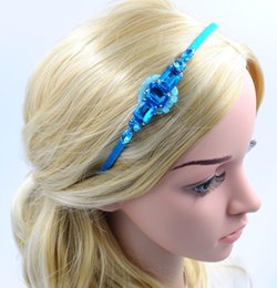 Girl Crystal Heaband with Blue Rhinestone Women Handmade Hair Jewelry New Fashion High Quality Hair Accessories for Wholesale