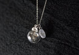 20 25MM Glass Ball Dandelion Seed Necklace,Dandelion Seed Necklace
