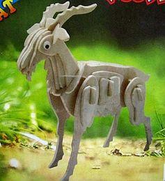 Wholesale-Educational Toys Zodiac Sheep Goat Wooden 3d Jigsaw Model Animal DIY