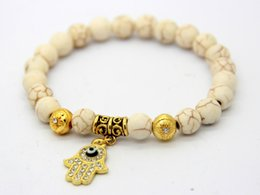 Wholesale 2016 New Products Fashion Gold Fatima Hand Hamsa Crystal Cham Bracelets with mm Turquoise and white Stone Beads