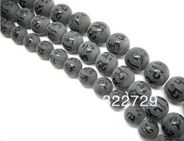 Black stone semi-precious stones 8 10 12mm gilt Buddha Mantra beads loose beads DIY craft materials Jewelry Accessories