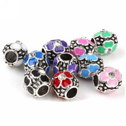 Mixed Color European Beads Retro Flower Rhinestone Big Hole Beads For Snake Chain Bracelet DIY 50pcs Wholesale