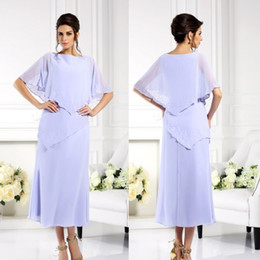 Wholesale plus size mother of the bride Bateau Beaded Asymmetric Chiffon Tea length Exquisite High Quality dresses party evening
