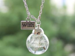 Wholesale 10PCS RealReal Dandelion Seed Wish bottle Necklace Dandelion Necklace gift