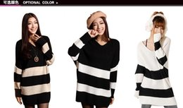Wholesale New Arrival Women Loose Striped Sweater Knits Winter Warm Batwing Sleeve Knitting Shirt Colors Choose