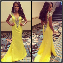 2016 New Arrival Long Evening Party Dress Elegant Cap Sleeve Yellow Mermaid Prom Dresses Backless Prom Gown vestidos de baile