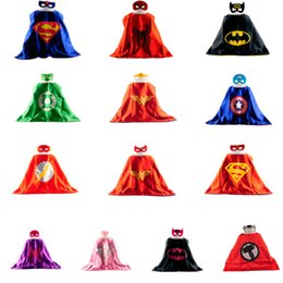 Wholesale Party supplies Double Side kids Superhero Cape Superman Batman Spiderman Teenage mutant ninja Robin turtles kids capes with mask in stock