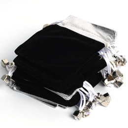 Wholesale-Free Shipping Hot Sell 100Pcs 7*9Cm Silver Top Black Velvet Jewelry Gift Pouch Bags,Phone Pouch Bag #90327