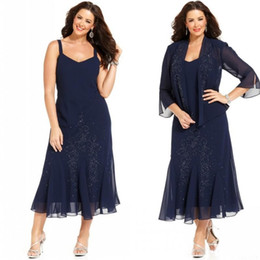 Vintage 2016 Navy Blue Chiffon Spaghetti Beaded Tea Length Plus Size Mother Off The Bride Dresses With 3 4 Long Sleeve Jacket EN2262