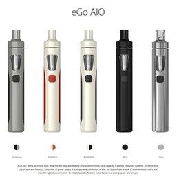 Wholesale 100 Original Joyetech eGo AIO Starter Kit Blak White Grey Cheapest Authtic Electronic Cigarette Kit LED illumination mAh Battery