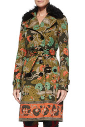Double Breasted Women Coat Fashion Print Trench 120914
