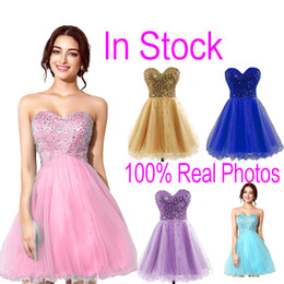 In Stock Pink Tulle Mini Crystal Homecoming Dresses Beads Lilac Sky Royal Blue Short Prom Party Graduation Gowns 2019 Cheap Real Image Hot