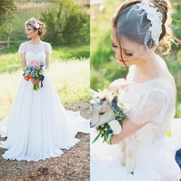 Romantic Short Sleeve A Line Wedding Gowns Vintage Lace Full Length Zipper Backless Cheap Beach Garden Bridal Wedding Brides Gowns Vestidos