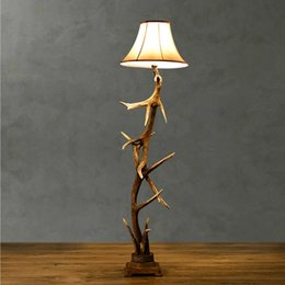Wholesale Personality Classic Country Resin deer horn Floor Lamps Floor Light Art Decorative Lustre DIY Craft Fixture Lighting
