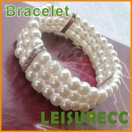 Wholesale Fashion female three diamond pearl bracelet elegant Diamond multi layer stretch bracelet ZB0004