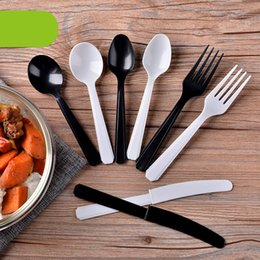 Wholesale Black White Disposable PP Spoon Knife Fork Napkin Portable Party Dinnerware Western Point Fork Knife Promotion set SK709