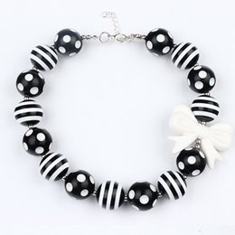 Baby Girls black white Beads Bubblegum Necklace hot Toddler Jewelry Necklace chunky Princess Necklace kids girl jewelry