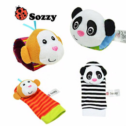 Promotion chaussettes lamaze hochet 2016 chaud New Lamaze style Sozzy hochet poignet âne Zebra hochet et chaussettes jouets (1set = 2 pcs poignet + 2 pcs chaussettes)