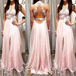 Pink Hot Split Evening Dresses Halter Lace Appliques A line Pleats Chiffon Party Prom Dress Backless Beaded Waistline Sash Custom made