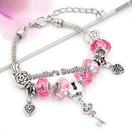 New Arrival PDR Charms European Style Pink Beads Lips Rose Beads Valentine Key and Heart Charms Bracelets for Valentine's Day Gift Jewelry