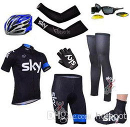Wholesale 2014 sky cycling team jersey custom made short sleeve bib sets arms gloves legs helmet Shoes covers cycling sunglasses