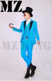 Male singer fashion new clubs in Europe and the lake blue suit suit ma3 jia3 costumes coat. S - 6 xl