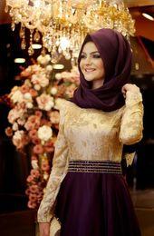 Muslim Evening Dresses A-line Long Sleeves Purple Embroidery Hijab Islamic Dubai Abaya Kaftan Long Evening Gown Prom Dress
