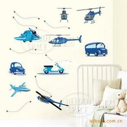 Wholesale Wall stickers home decoration creative wallpaper mural wall stickers bedroom background wall stickers cartoon airplane Sticker J