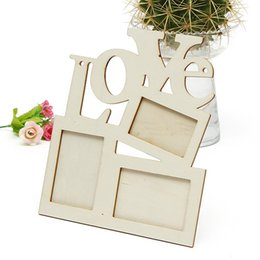 Wholesale New Lovely Hollow Love Wooden Family Photo Picture Frame Rahmen White Base DIY Home Decor