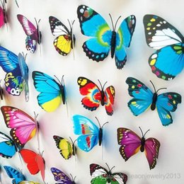 Wholesale 1200pcs sets mixed colors D Wall Sticker PVC Butterfly Magnetic Sticker For Home Decoration Room DIY Ornament Multicolor