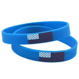 Wholesale Shipping 100PCS Lot Silicone Wristband Bracelet American Flag Logo Colour Fill in Promotion Gift Blue