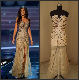 Wholesale Vestido Miss World Pageant Dresses Brazil Crystal Lace Tulle Prom Dress Side Slit Mermaid Celebrity Dresses Evening Gowns Formal BO1283