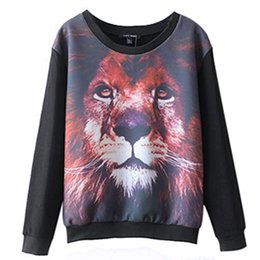 Hot Sale 2016 Womens Hoodies Sweatshirt Lion 3D Print Full sleeve O-neck Personality Loose Sweatshirt moleton feminino Plus size