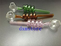 Wholesale Great Pyrex glass pipes Curved Glass Oil Burners Pipes with Different Colored Balancer Water Pipe smoking pipes