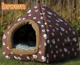 Wholesale Lovely warm colorful pet nest Can washable collapsible yurt kennel Dog cat houses include mat color S M L
