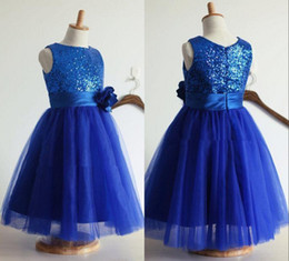 Royal Blue Pretty Flower Girls Dresses 2019 Sleeveless Crew Neck Tea length Sequins Tulle Little Baby Kids Formal Wedding Party Gowns Cheap