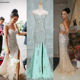 Gorgeous Strapless Crystal Mermaid Prom Dresses 2016 Bling Sweetheart Split Evening Gowns For Party Reception Dresses VG0114