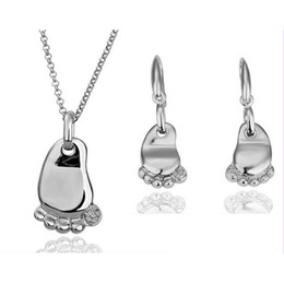 Little Feet Bridesmaid Jewelry sets Necklace Earrings Sets For Women Crystal Jewelry Wedding Jewelry Sets G119