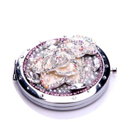 10Pcs Lot Elegant Rhinestone camellias Make Up Mirror Stainless Steel Frame Double Sided Enlarge Mini Compact Mirror Wholesale