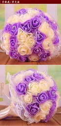 Wholesale Bridal bouquet wedding PE simulation yarn edge rose gold powder bride holding flower wedding bouquet HY00253