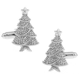 New Christmas Series Cufflink- Christmas Tree With Star - Silver Color