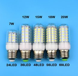 Wholesale Candle Warmers White Wholesale - E27 GU10 B22 E14 G9 Led Lamps SMD 5730 7W 12W 15W 18W 220V 110V LED Corn Led Bulb Christmas Chandelier Candle Lighting