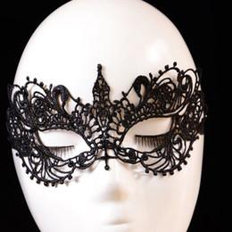 Wholesale-1Pcs Halloween Masquerade Black Masquerade Eye Mask Ball Prom Halloween Lace Fancy Dress cutout mask Party Black
