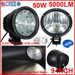 "2PCS 9"" 50W CREE LED Driving Work Light 2COB*25W CHIP Offroad SUV ATV 4WD 4x4 Spot Pencil Beam 12 24V 5000lm Xenon White 6K Replace HID Bulb"