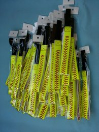 Softball Headbands - Yellow Leather with Red Stitching Seam Fastpitch Stretch Elastic Sport hair band 32 color in stock