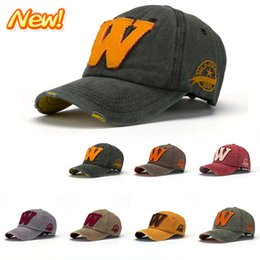 Wholesale Hot Retail New fashion brand snapback baseball caps men and women W denim washed sun shading peaked hats Hot Sale